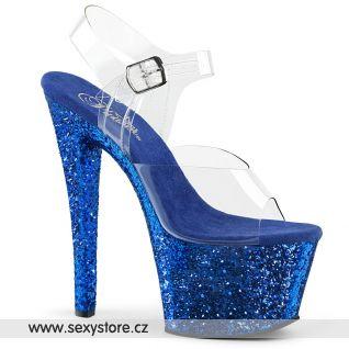 SKY308LG/C/BLG modré sandály na vysokém podpatku