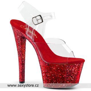 SKY308LG/C/RG červené taneční sandály na vysokém podpatku