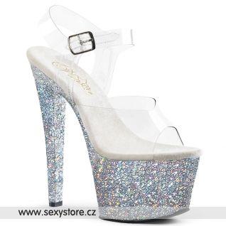 SKY308LG/C/SG stříbrné taneční sandály na vysokém podpatku