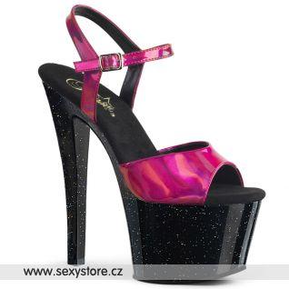 Černé sexy boty s fialovými holografickými pásky SKY309HG/FSHG/B