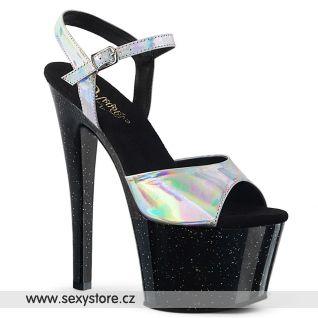 Černé sexy boty se stříbrnými holografickými pásky SKY309HG/SHG/B