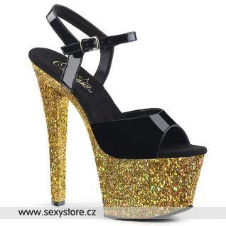 SKY309LG/B/GG Sexy boty se zlatým podpatkem a platformou