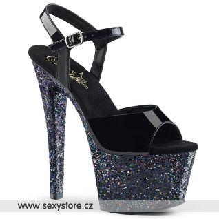 SKY309LG/B/M Černé sexy boty na podpatku a platformě