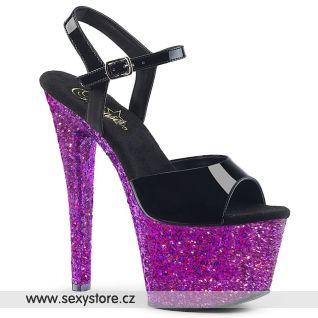 SKY309LG/B/PPG Sexy boty na fialovém podpatku s platformou