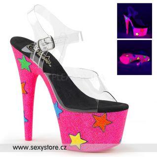 ADORE-708UVGSTR ADO708UVGSTR/C/NHPG Růžové svítící sexy boty s hvězdami