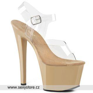 SKY308/C/CR Krémové sexy boty na vysokém podpatku a platformě