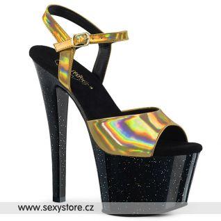 SKY-309HG Sexy boty se zlatými holografickými pásky SKY309HG/GHG/B
