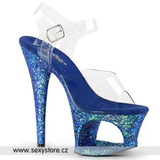 MOON708LG/C/BLUG Modré sexy boty na vysokém podpatku