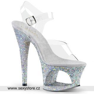 MOON708LG/C/SG Stříbrné sexy boty na vysokém podpatku a platformě
