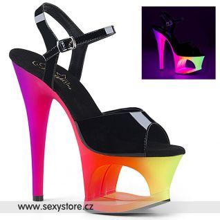 MOON709UV/B/NMC Svítící sexy boty na vysokém podpatku a platformě