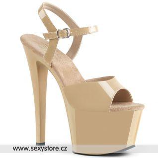 SKY309/CR/M Krémové sexy boty na vysokém podpatku a platformě