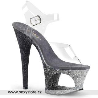 MOON708OMBRE/C/S-B Luxusní šedivé sexy boty na vysokém podpatku