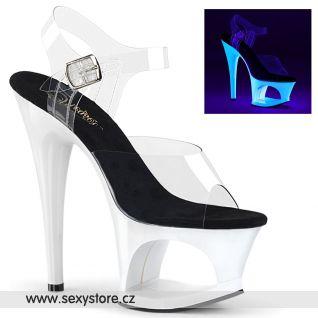 MOON708UV/C/NW Bílé svítící sexy boty na vysokém podpatku a platformě