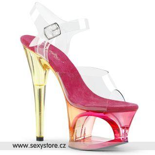 MOON708MCT/C/PN žluto růžové sexy boty
