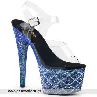 ADORE-708MSLG ADO708MSLG/C/BLG Modré sexy boty s třpytkami na podpatku a platformě