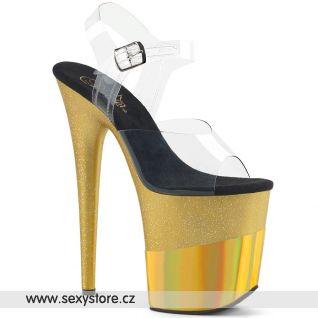 Zlaté sexy boty FLAMINGO-808-2HGM FLAM808-2HGM/C/GGHG