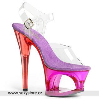 MOON708MCT/C/PP červeno fialové sexy boty na velmi vysokém podpatku a platformě