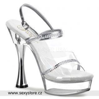 Sexy boty SWEET-439/C/RS s ozdobnými pásky na platformě a podpatku