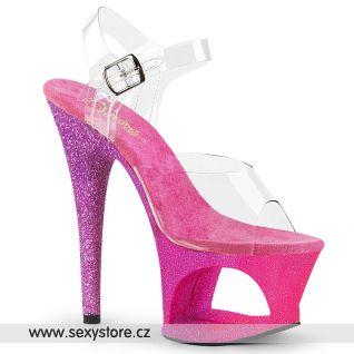 MOON708OMBRE/C/PN-LV Luxusní sexy boty modro růžové na vysokém podpatku