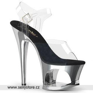MOON708/C/SCH Stříbrné sandály na vysokém podpatku a platformě