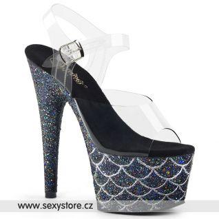 ADO708MSLG/C/BG Černé sexy boty s třpytkami na podpatku a platformě