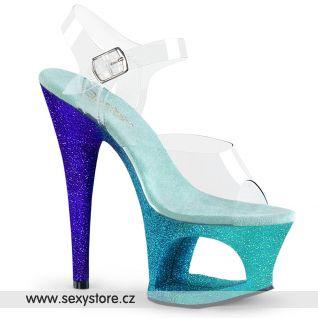MOON708OMBRE/C/AQ-BL Luxusní sexy boty fialovo modré
