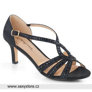 MISSY03/BFA černé společenské boty na nízkém podpatku