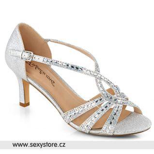 MISSY03/SFA stříbrné plesové boty na nízkém podpatku