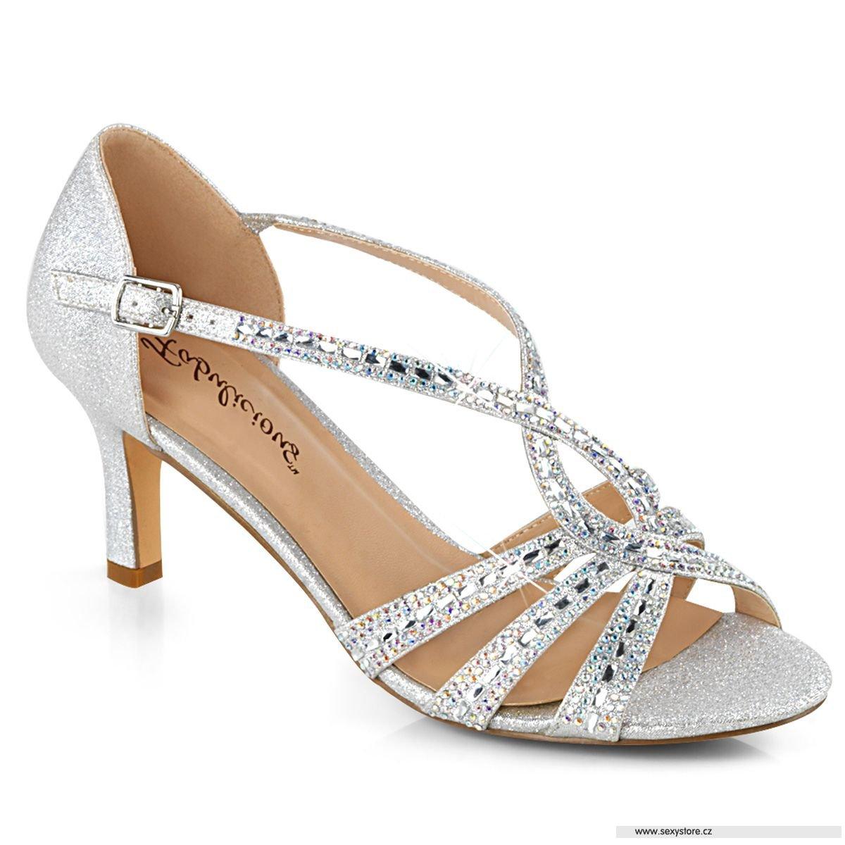 MISSY03 SFA stříbrné plesové boty na nízkém podpatku  9b56f5038a