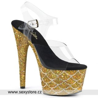 ADORE-708MSLG ADO708MSLG/C/BG Zlaté sexy boty s třpytkami na podpatku a platformě