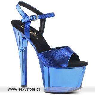 SKY309MT/BLMPU/M Modré boty na podpatku a platformě