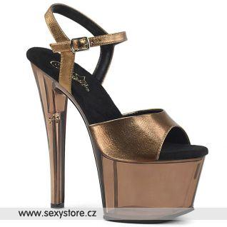 Bronzové boty na podpatku a platformě SKY309MT/BZMPU/M