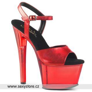 Červené boty na podpatku a platformě SKY309MT/RMPU/M