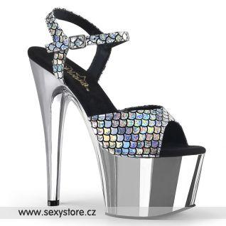Stříbrné boty s holografickými pásky ADORE-709MSC ADO709MSC/SHG/SCH