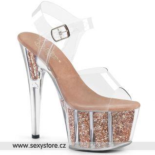 ADO708G/C/ROGLDG Zlato růžové sexy boty na vysokém podpatku