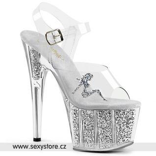 ADORE-708GTG ADO708GTG/C/SG Stříbrné sexy sandály na vysokém podpatku a platformě