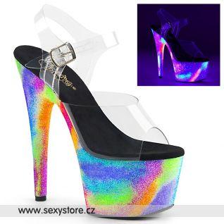 ADORE-708GXY ADO708GXY/C/NGXY Taneční sexy boty barevně svítící na vysokém podpatku a platformě