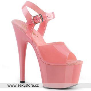 ADO708N/BPTPU/M taneční růžové lesklé sexy boty