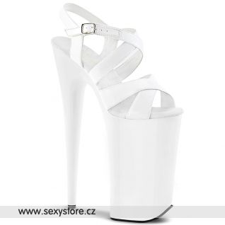 BEYOND-097 BEY097/W/M Bílé páskové sexy boty na nejvyšším podpatku
