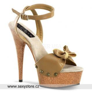 hnědá kůže sexy obuv na podpatku DELIGHT-642W
