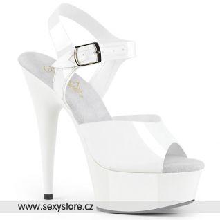 DELIGHT-608N DEL608N/WTPU/M Bílé sandály na vysokém podpatku