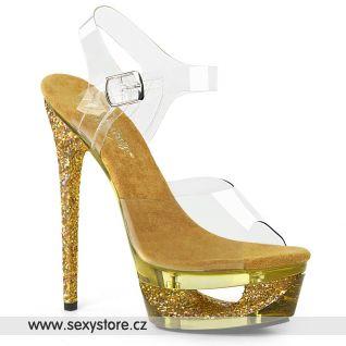 Zlaté boty na jehlovém podpatku ECP608GT/C/GG