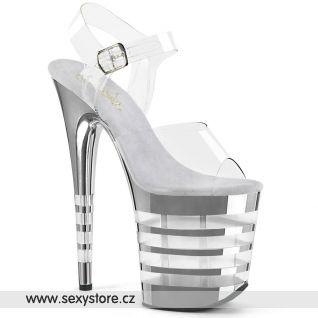 Stříbrné boty na extrémním podpatku FLAM808CHLN/C/SCH