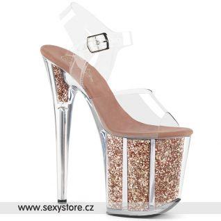 Sexy zlato růžové sandály na extrémním podpatku FLAMINGO-808G FLAM808G/C/ROGLDG