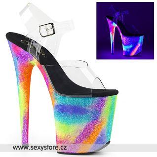 Extra vysoké podpatky svítící boty Pleaser FLAM808GXY/C/NGXYG