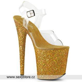 Zlaté boty na extra vysokém podpatku FLAM808LG/C/GG