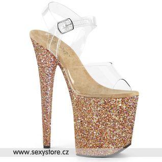 FLAMINGO-808LG Zlato růžové boty na extra vysokém podpatku FLAM808LG/C/ROGLDHGG
