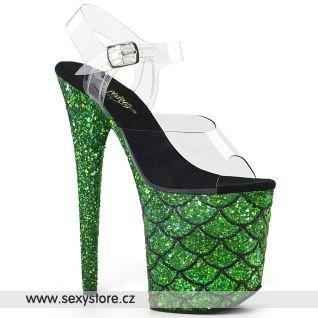 FLAM808MSLG/C/GNG Zelené sexy boty na extrémním podpatku