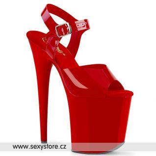 Červené boty s extra vysokým podpatkem FLAMINGO-808N FLAM808N/RTPU/M