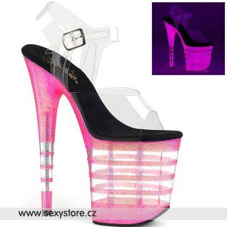 FLAMINGO-808UVLN FLAM808UVLN/C/BGMPNK Růžové svítící sexy boty na extrémním podpatku s průhlednými pruhy